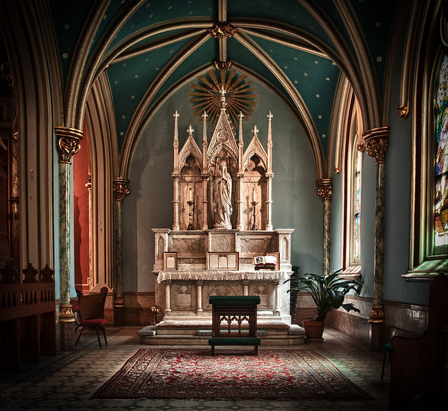 The incredibly beautiful interior of the Cathedral of St. John the Baptist church in Savannah, Georgia.