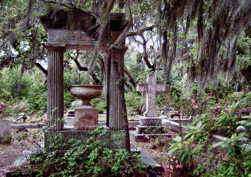"The extraordinary beauty of the Bonaventure Cemetery, outside of Savannah, Georgia.  Most famous for it's part in the movie, ""Midnight in the Garden of Good and Evil."""