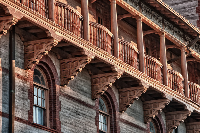 The wonderful detail work on a Flagler College building in St. Augustine, Florida