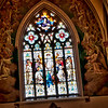 Stained glass inside the Cathedral of St. John the Baptist church in Savannah, Georgia.