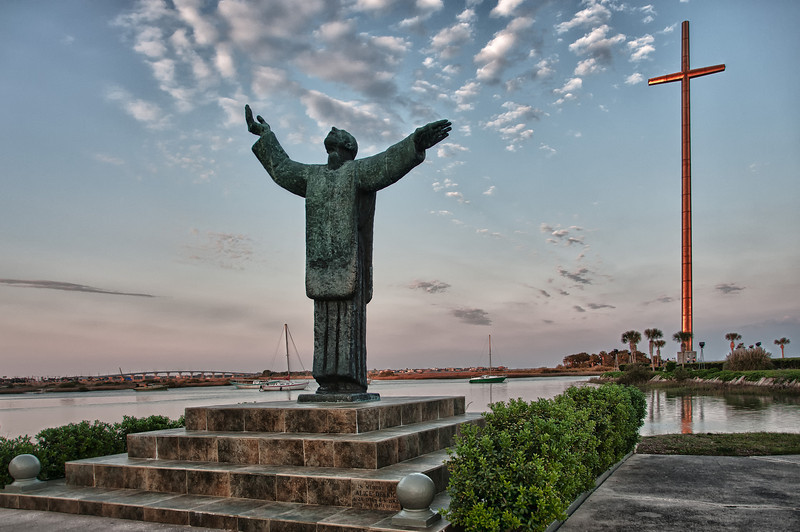 Mission of Nombre de Dios, St. Augustine, Florida.   A 208-foot, stainless steel Great Cross built in 1965, and a bronze statue of Father Francisco Lopez de Mendoza Grajales