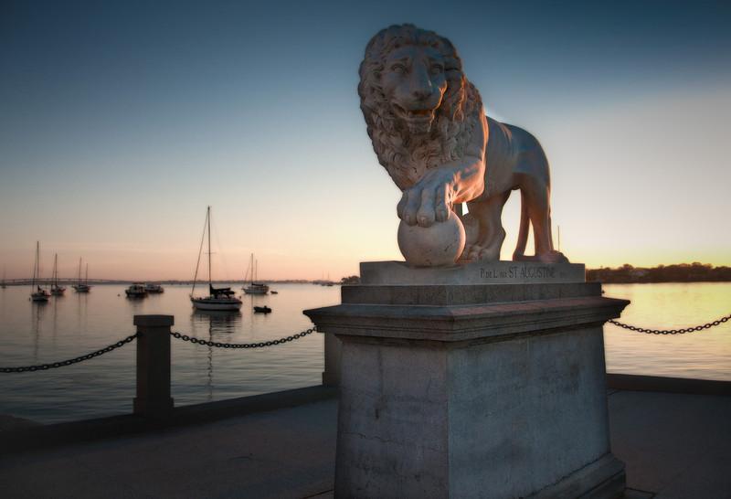 The Bridge of Lions namesake guarding the bridge in St. Augustine, Florida.