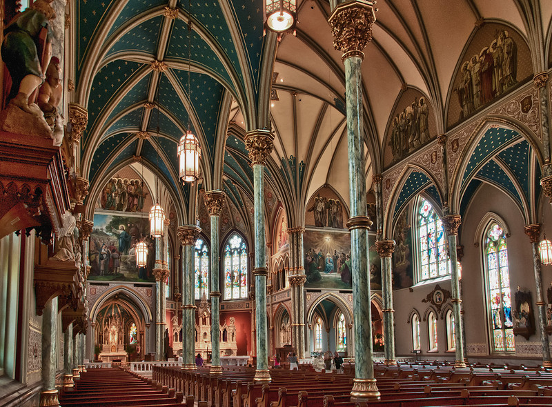 A view of the magnificent interior of the Cathedral of St. John the Baptist church in Savannah, Georgia.