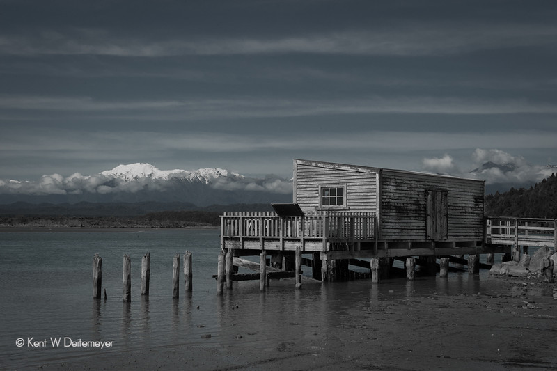 Okarito Lagoon and Landing; Mt Adams in the Southern Alps. Westland, South Island