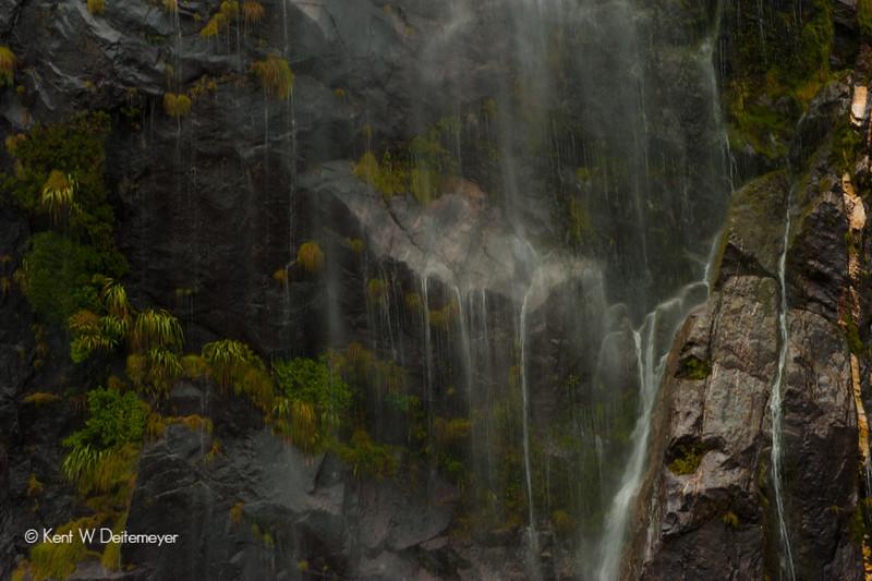 Cascades, Milford Sound, Fiordland National Park, South Island