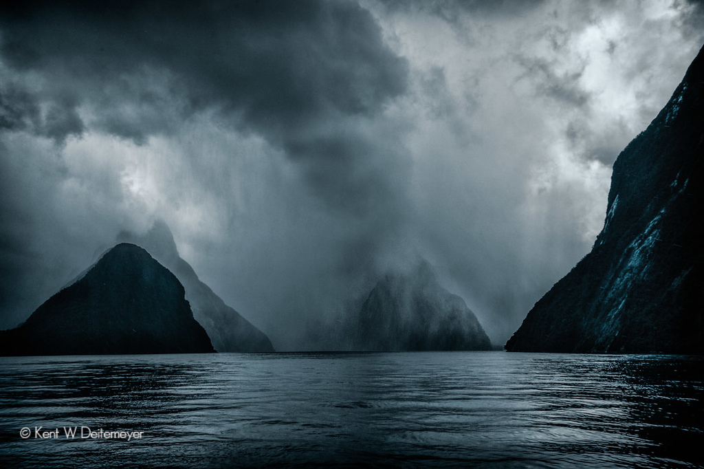 Storm in Milford Sound, Fiordland National Park, South Island