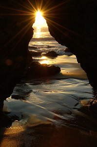 Setting Sun El Matador State Beach Malibu, near Malibu California Santa Monica Mountains