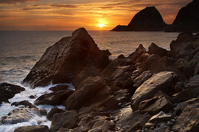 Golden Sunset at Point Mugu Rock - near Malibu Santa Monica Mountains Southern California near Los Angeles