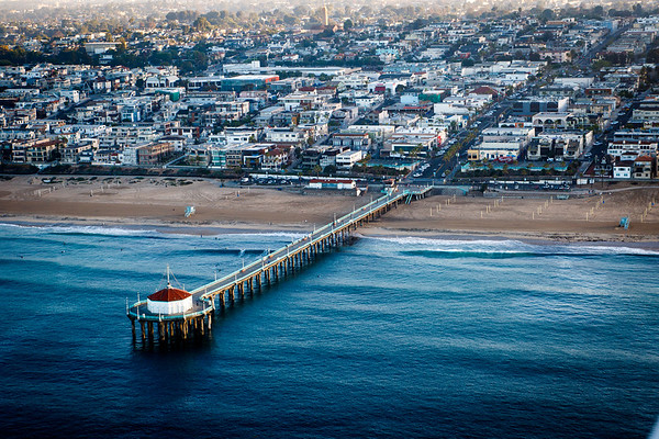 Manhattan Beach Pier, Sunrise Aerial View