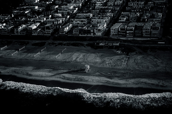 Black and White Aerial of El Porto