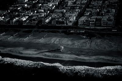 Black and White Aerial of El Porto