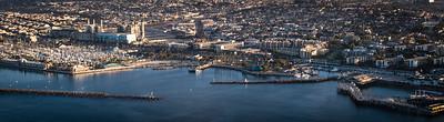 Redondo Beach Harbor, Redondo Beach, CA - Aerial View at Sunrise