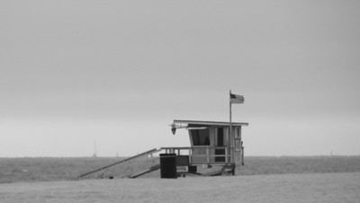 "Hermosa Beach Tower, Hermosa Beach, CA - Took this on a stormy day, love the ""feel"" of it."