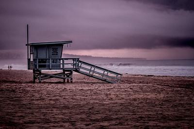 El Porto Lifeguard Tower 42 Dark Sunrise. Manhattan Beach, CA.