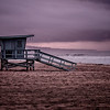 El Porto Lifeguard Tower 42 Dark Sunrise. Manhattan Beach, CA.