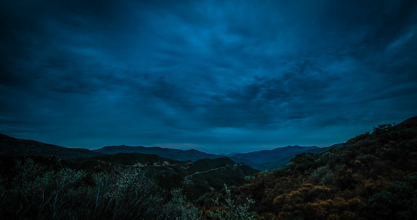 Blue hour, just before sunrise. Los Padres National Park.