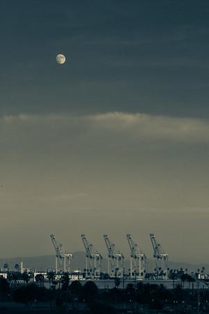 Moon and Cranes, Port of Los Angeles, San Pedro, California