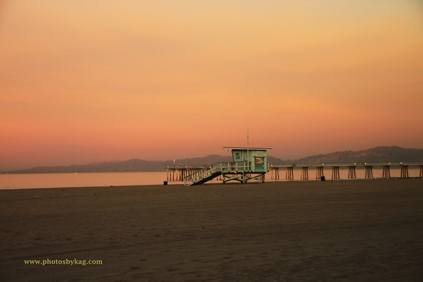 Orange sunrise, Hermosa Beach, CA.