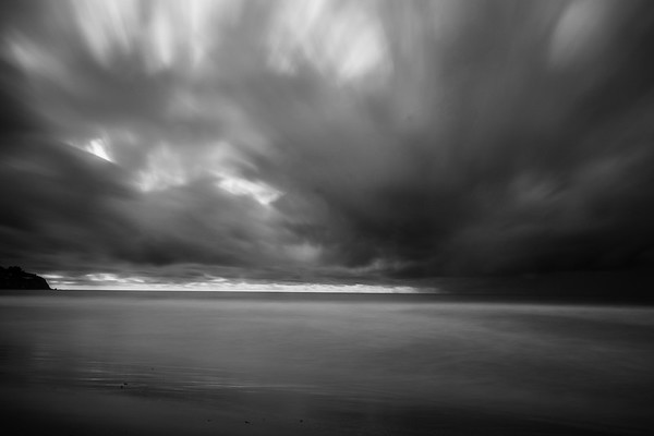 Black and White Long Exposure Photograph, Torrance Beach, Torrance CA.