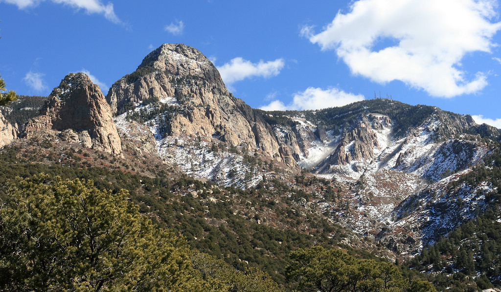 Some of the Granite peaks in the Sandia mountains with late fall snow.