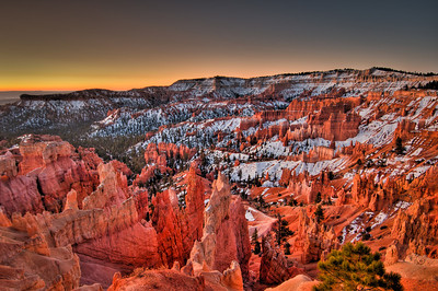 Bryce Canyon snow dusted Sunrise