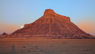 Factory Butte at Sunrise with Full Moon and shadows