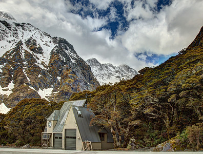 Fiordland, between Te Anau and Milford Sound, New Zealand - a house next to the road from which emergency calls can be made.