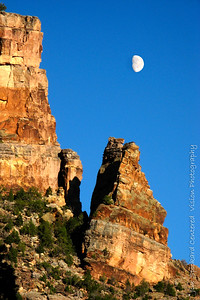 Rock Pillars with Moon