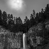 79  G Multnomah Falls and Moon BW V