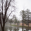 On Thursday, March 29, spring rain left the Saint Meinrad campus foggy and wet. Drops of water pooled on the toes of the crucifix in the Archabbey Cemetery.