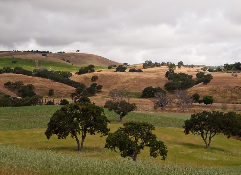 a storm breaks up over the hills in Paso Robles, CA