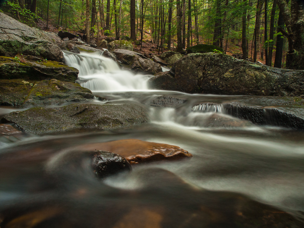 The lower section of Senter falls - camera on rock.  Photographer in brook.  Yay for goretex boots.