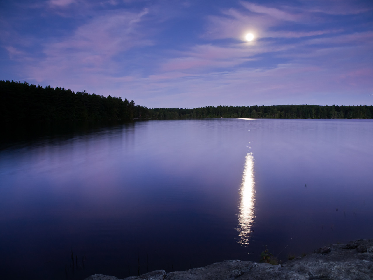 My first long exposure during moonlight is at Lake Massabesic.
