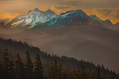 Morning Glow of Olympic Mountain Ranges