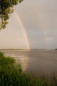 Double rainbow over  St. Louis Bay and leading up the Pokegama