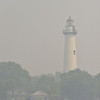 St. Simons Island Lighthouse in Georgia during smoke from mainland fires 06-18-11