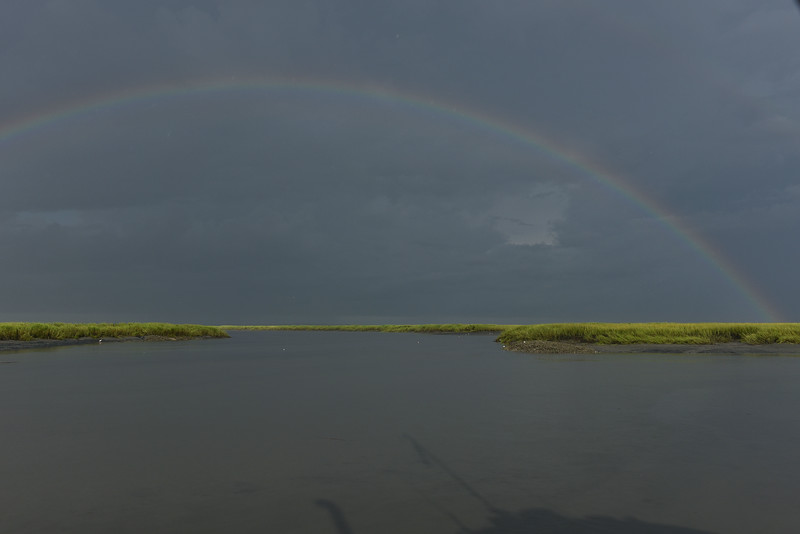 St. Simons with Rainbows from Plantation Creek under Storm Conditions from the Lady Jane 08-05-16