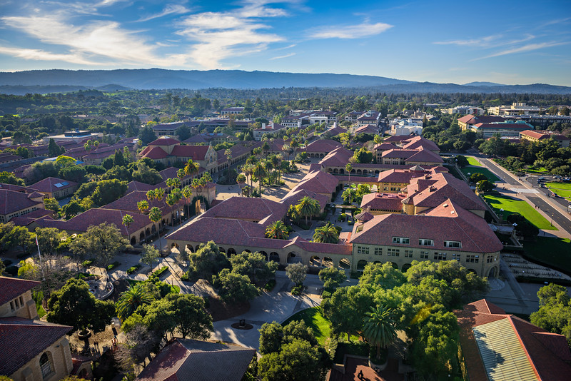 """Aerial View of the Stanford Memorial Church on the Stanford Campus"""