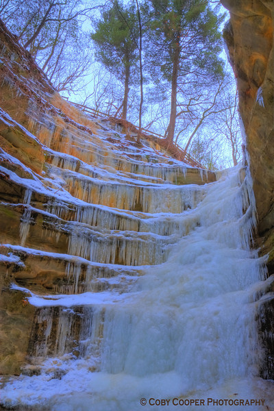 January 16, Went hiking today to the Ice Falls in a nearby state park. The lighting was very flat but managed to get a few decent images. The orange coloring is from the high iron content in the water.