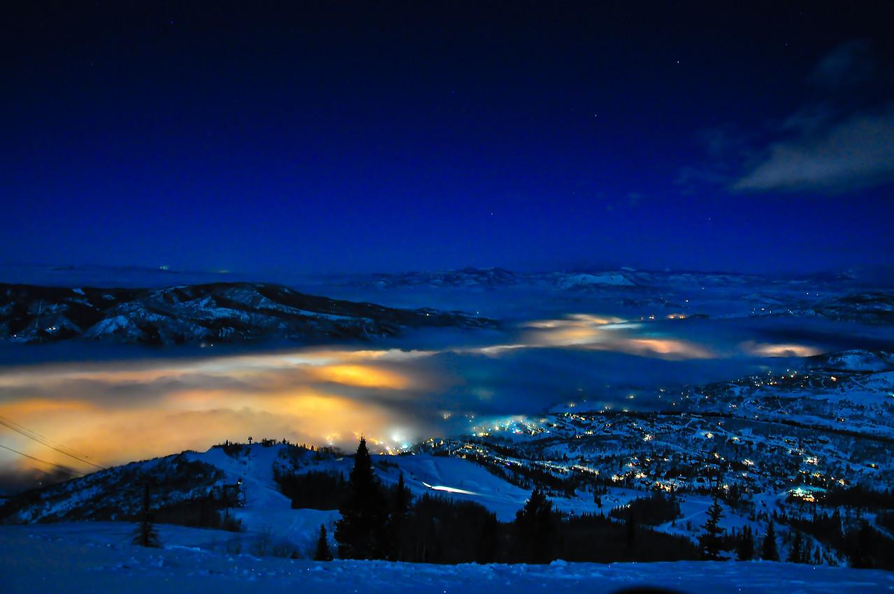 Fog settles in the valley below Mt. Werner