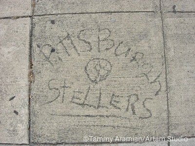 Pittsburgh Stellers [sic] in sidewalk cement, Redwood City 2005