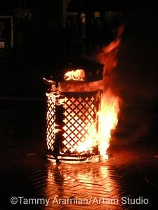 Trashcan fire, Market Street, San Francisco 2010