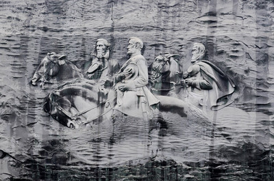 """The three Confederate leaders of the Civil War, President Jefferson Davis and Generals Robert E. Lee and Thomas J. """"Stonewall"""" Jackson (and their favorite horses, """"Blackjack"""", """"Traveller"""", and """"Little Sorrel"""", respectively) - courtesy of http://en.wikipedia.org/wiki/Stone_Mountain"""