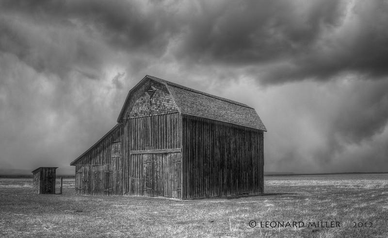 Pioneer Mormon Barn - Snow Flurries -  Wyoming