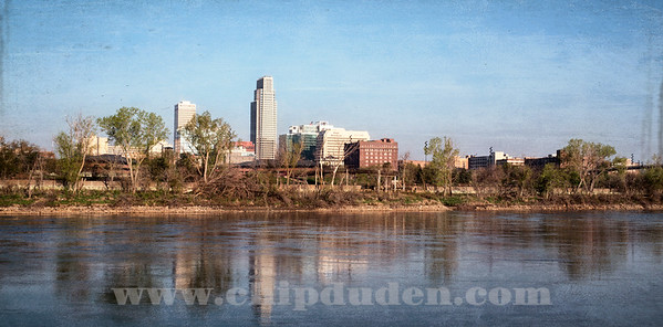 Omaha skyline as seen from the banks of the Missouri river, Council Bluffs, Iowa