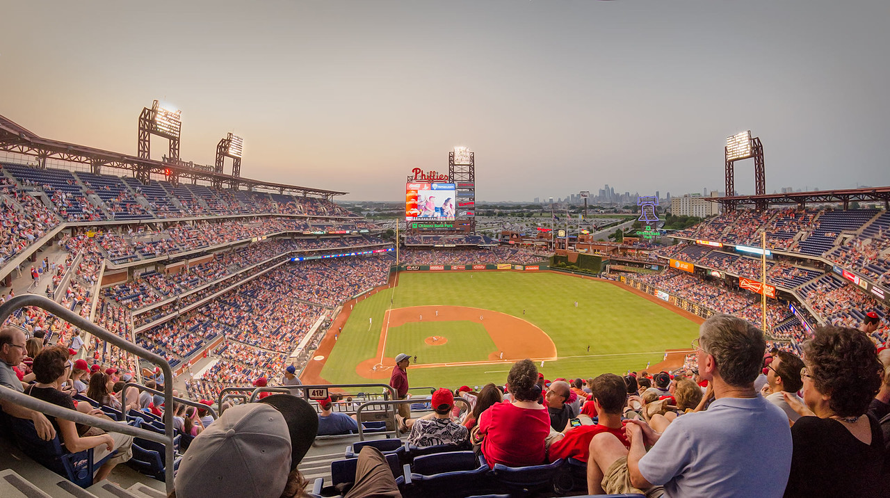 August in Citizens Bank Park - Phillies vs. Colorado Rockies<br /> Panorama composed from 6 images<br /> 1920 x 1080 px