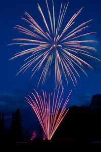 Canada Day fireworks in Canmore, Alberta