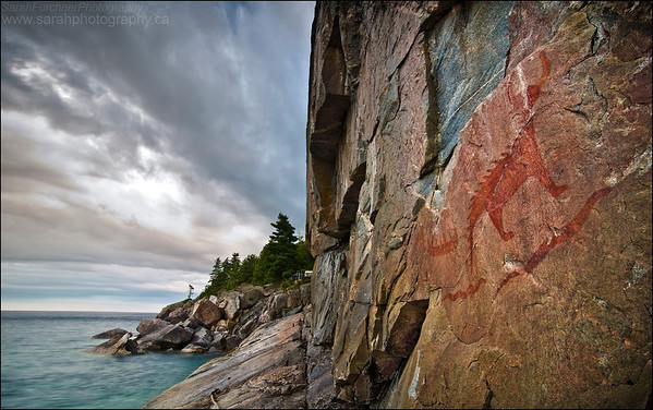 """Agawa Rock. Lake Superior Provincial Park, Ontario. First Place Winner in the Canadian Wildlife Photography of the Year Awards, """"between a rock and a hard place"""" category."""
