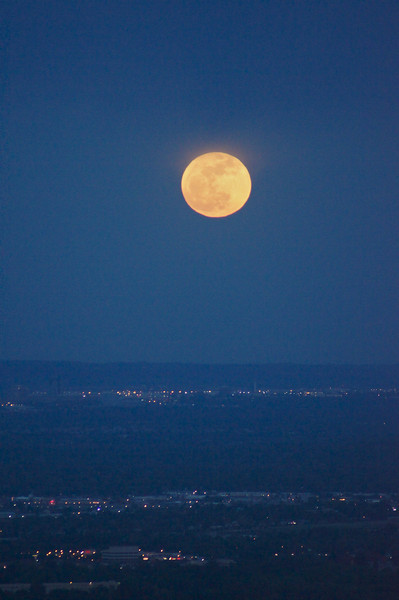 The Supermoon rises over eastern Colorado, south of Denver.