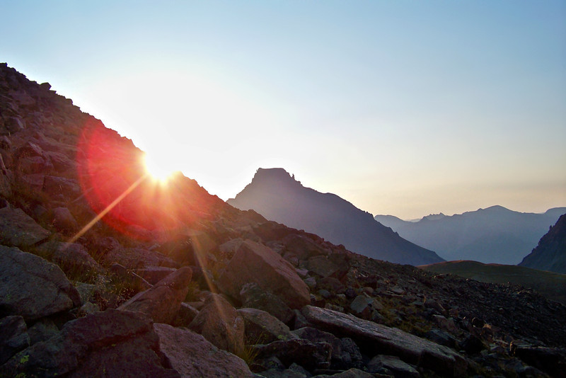 Sunrise on the trail to Mt. Sneffels, Colorado San Juan Mountains